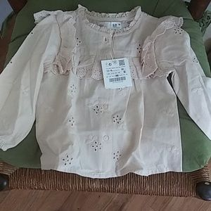 Zara baby eyelet long sleeve dressy top
